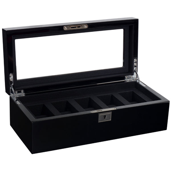 Wolf 5 Piece Black Savoy Watch Box 461570 - Hamilton & Lewis Jewellery