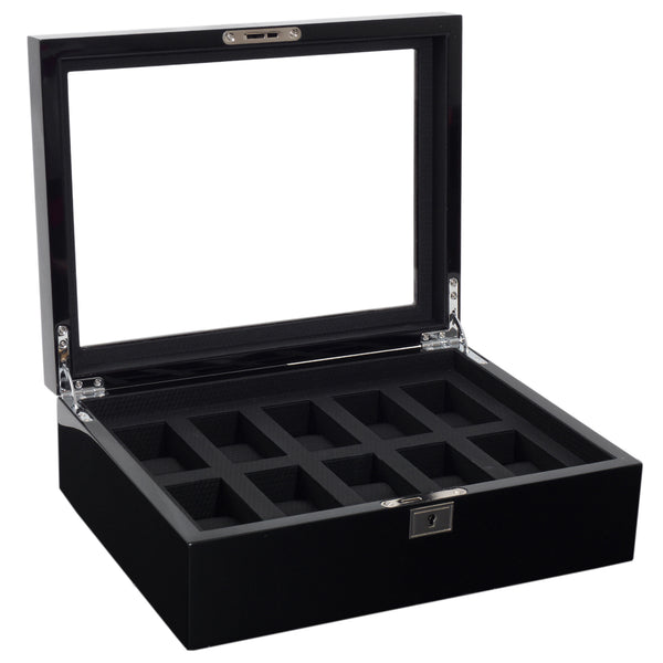 Wolf 10 Piece Black Savoy Watch Box 461670 - Hamilton & Lewis Jewellery
