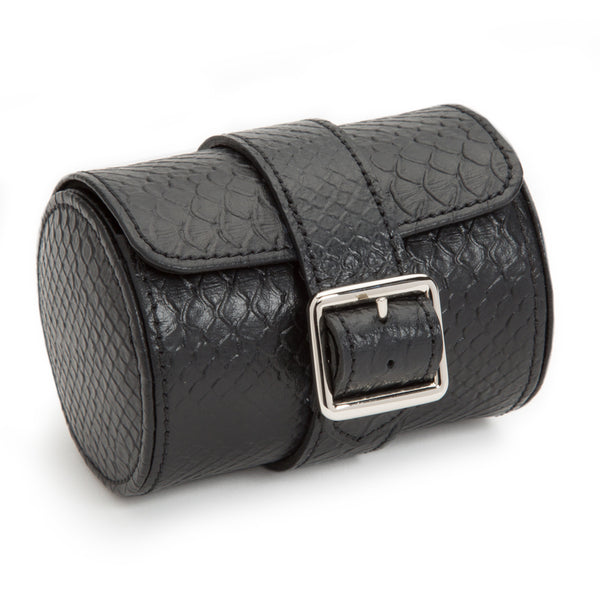 Wolf Single Black Exotic Watch Roll 462720 - Hamilton & Lewis Jewellery