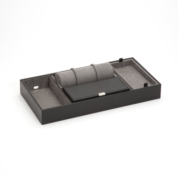 Wolf Howard Black Valet Tray with Roll 465103 - Hamilton & Lewis Jewellery