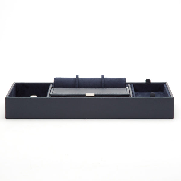 Wolf Howard Navy Valet Tray with Roll 465117 - Hamilton & Lewis Jewellery