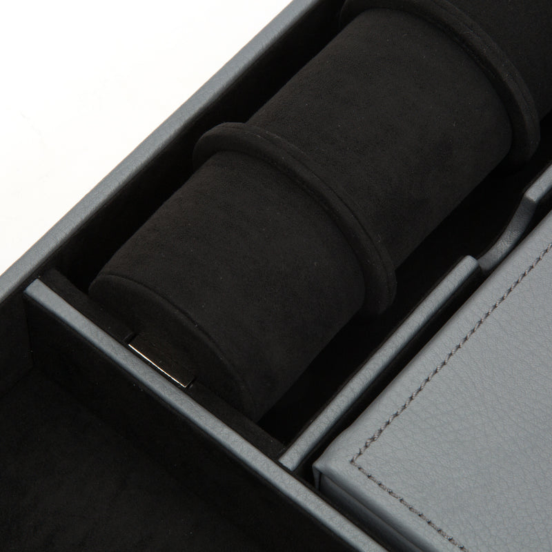 Wolf Howard Grey Valet Tray with Roll 465165 - Hamilton & Lewis Jewellery