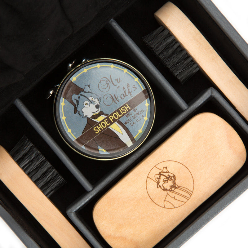 Wolf Howard Grey Shoe Shine Kit 465365 - Hamilton & Lewis Jewellery