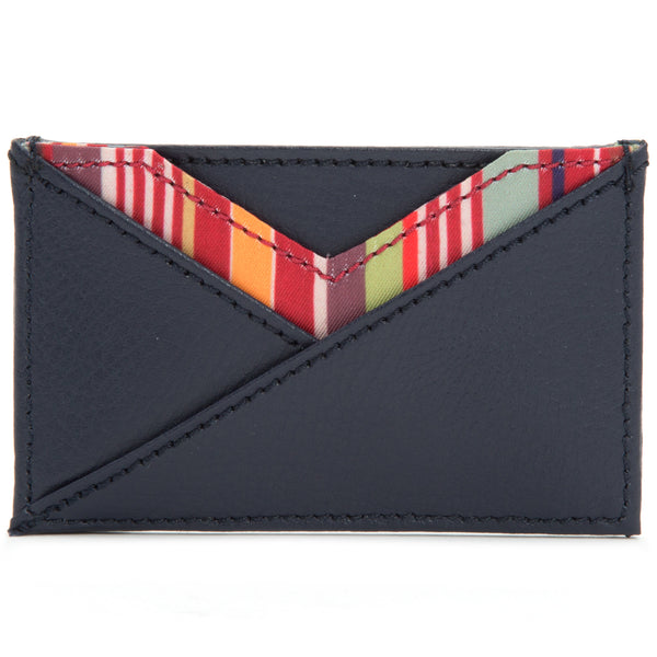 Wolf Howard Navy Leather Card Wallet 466417