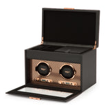 Wolf Double Black/Copper Axis Winder with Storage 469316 - Hamilton & Lewis Jewellery