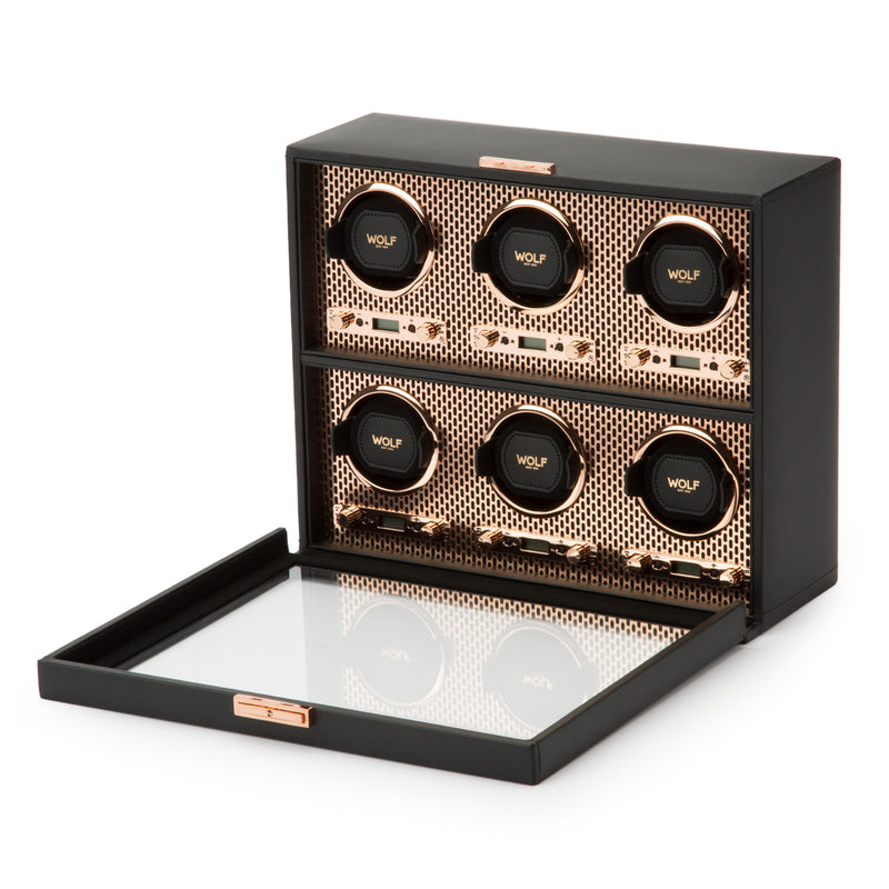Wolf 6 Piece Black/Copper Axis Winder 469616 - Hamilton & Lewis Jewellery