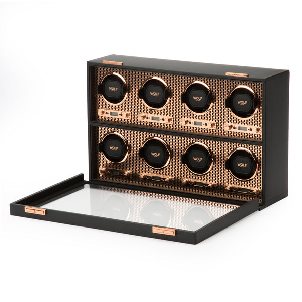 Wolf 8 Piece Black/Copper Axis Winder 469716 - Hamilton & Lewis Jewellery