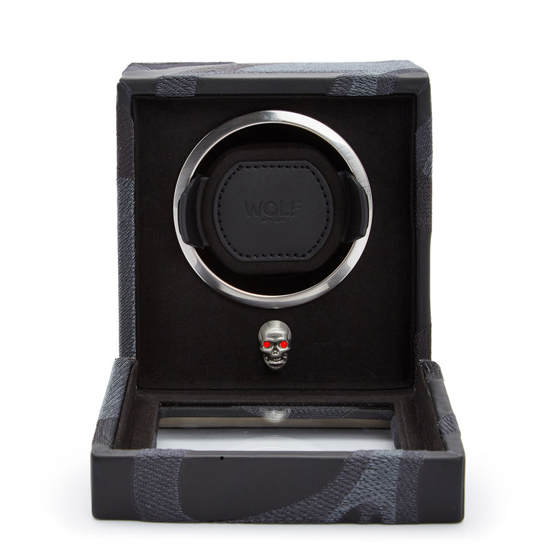 Wolf Single Black Memento Mori Cub Winder with Cover 493102 - Hamilton & Lewis Jewellery