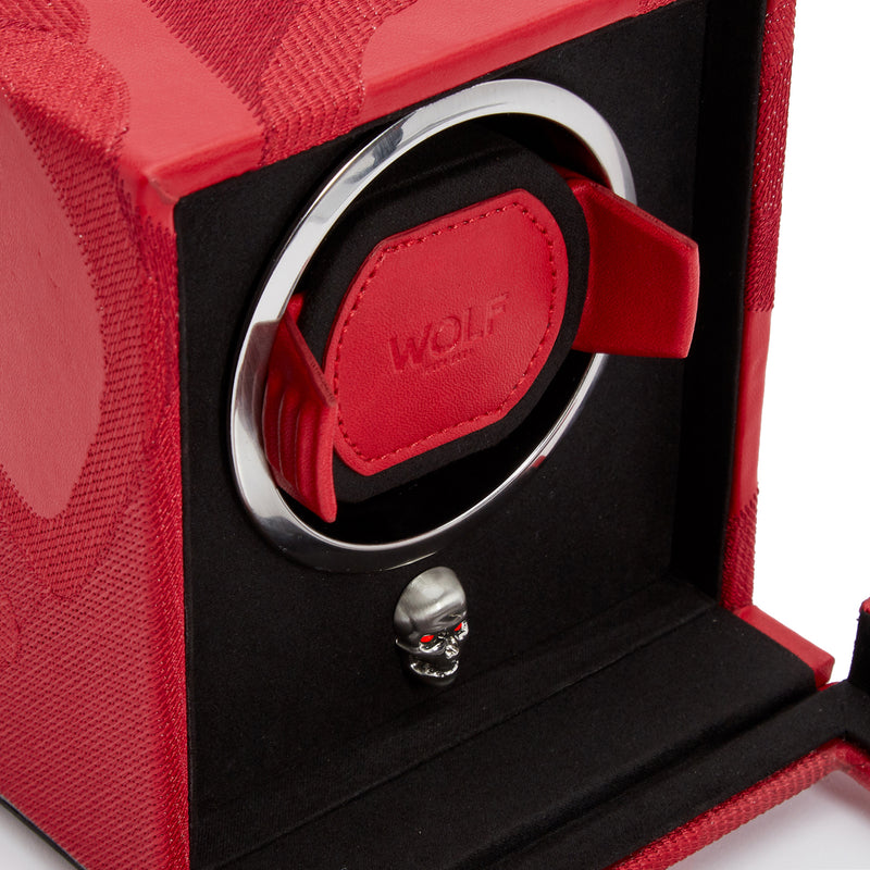 Wolf Single Red Memento Mori Cub Winder with Cover 493172 - Hamilton & Lewis Jewellery