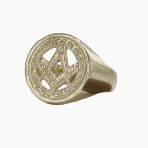 9ct Yellow Gold Masonic Signet Ring – Square & Compass - Hamilton & Lewis Jewellery