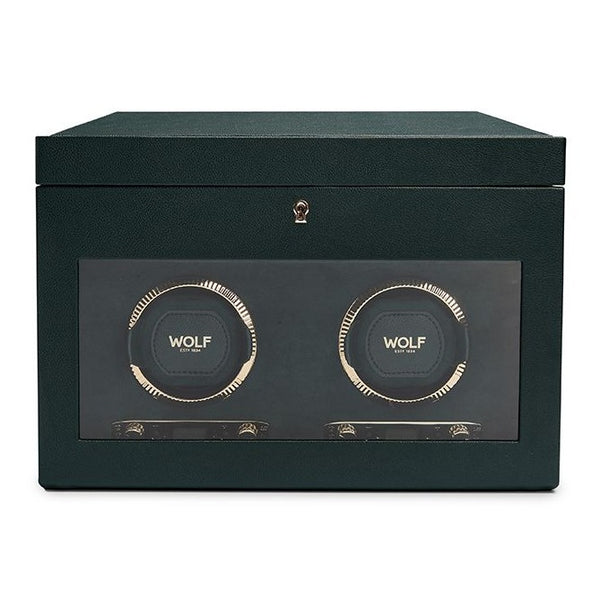 Wolf Double British Racing Green Winder with Storage 792241 - Hamilton & Lewis Jewellery