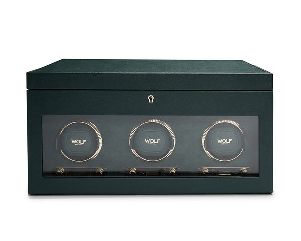 Wolf Triple British Racing Green Winder with Storage 792341 - Hamilton & Lewis Jewellery
