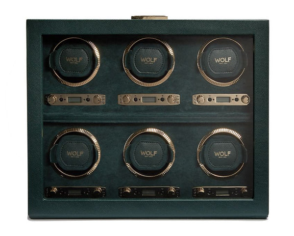 Wolf 6 Piece British Racing Green Winder 792441 - Hamilton & Lewis Jewellery