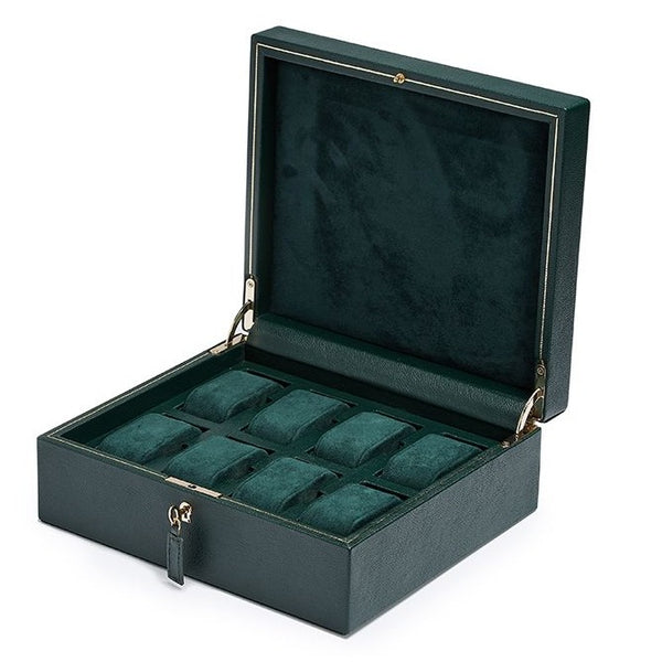 Wolf 8 Piece British Racing Green Watch Box 792641 - Hamilton & Lewis Jewellery