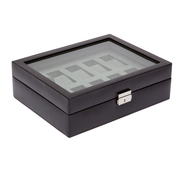 Wolf 10 Piece Black Heritage Watch Box 99507 - Hamilton & Lewis Jewellery