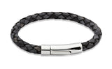 Unique & Co Antique Black Leather Bracelet A40ABL - Hamilton & Lewis Jewellery