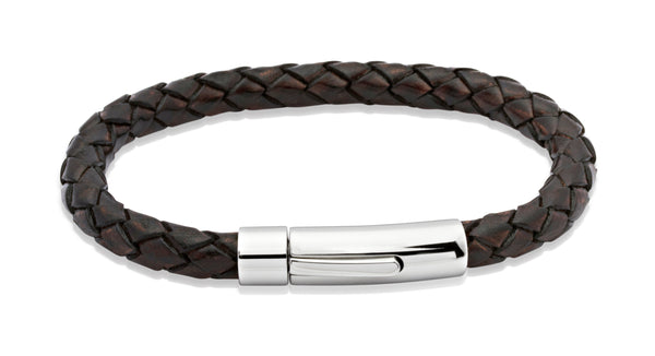 Unique & Co Antique Dark Brown Leather Bracelet A40ADB - Hamilton & Lewis Jewellery