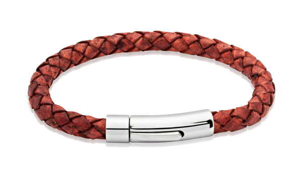 Unique & Co Antique Rust Leather Bracelet A40AR - Hamilton & Lewis Jewellery