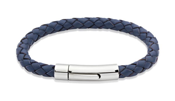 Unique & Co Blue Leather Bracelet A40BLUE - Hamilton & Lewis Jewellery