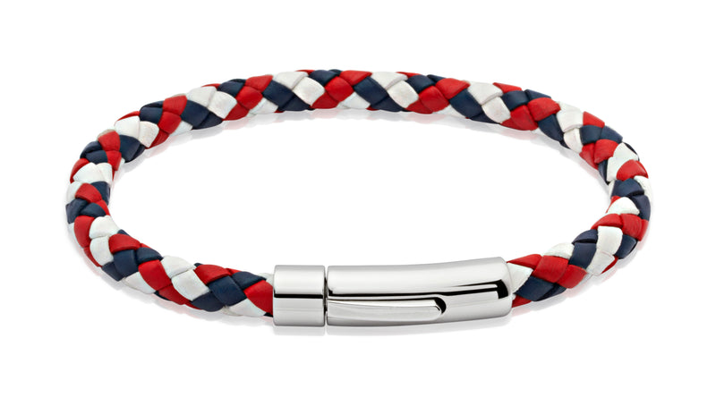 Unique & Co Red, White and Blue Leather Bracelet A40GBR - Hamilton & Lewis Jewellery