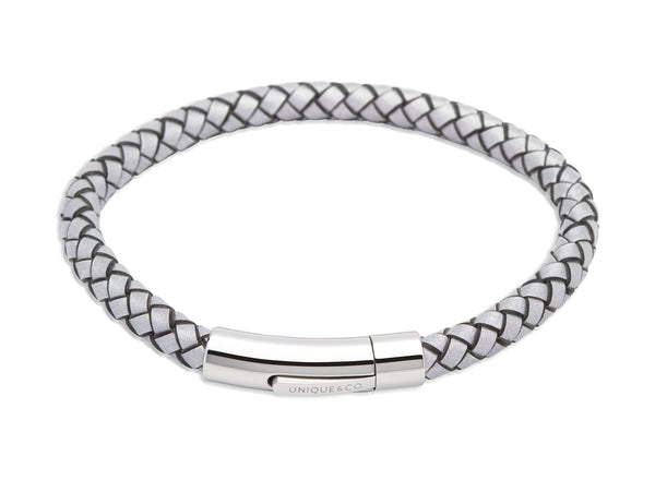 Unique & Co Luminous Grey Leather Bracelet A40LG - Hamilton & Lewis Jewellery