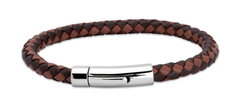 Unique & Co Dark and Light Brown Leather Bracelet A40MB - Hamilton & Lewis Jewellery