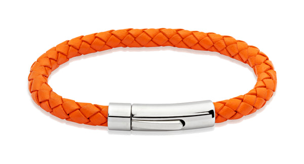 Unique & Co Orange Leather Bracelet A40OR - Hamilton & Lewis Jewellery