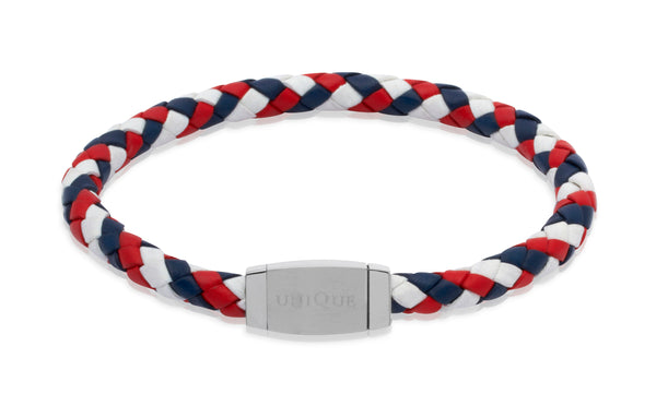 Unique & Co Red, White and Blue Leather Bracelet B144GBR - Hamilton & Lewis Jewellery
