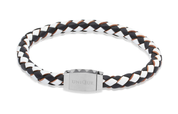 Unique & Co Black and White Leather Bracelet B144WB - Hamilton & Lewis Jewellery