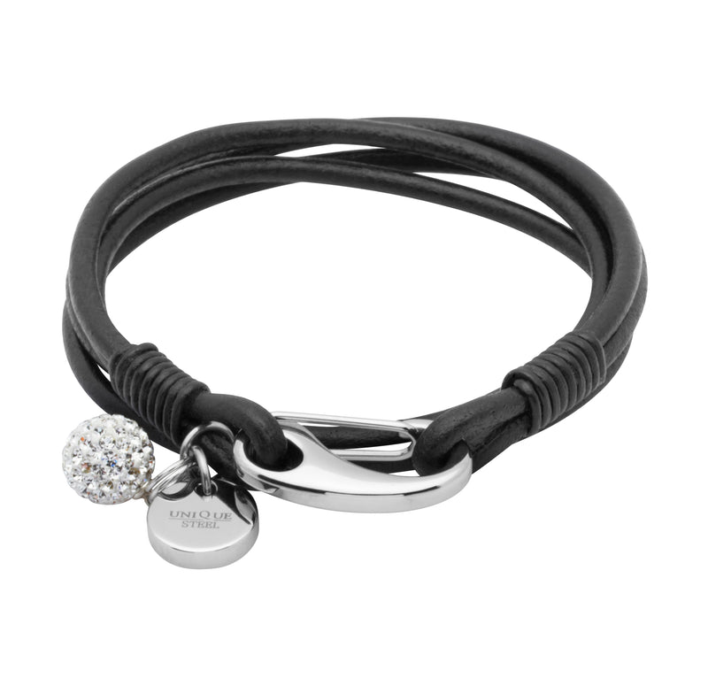 Unique & Co Ladies Black Leather Bracelet B152BL - Hamilton & Lewis Jewellery