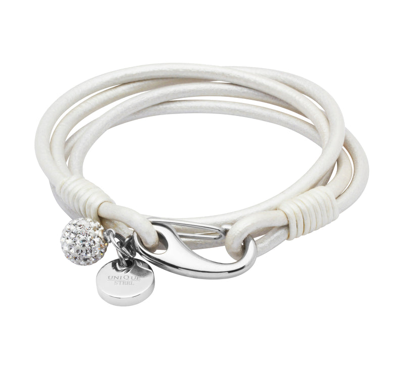 Unique & Co Ladies Pearl Leather Bracelet B152PE - Hamilton & Lewis Jewellery