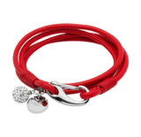 Unique & Co Ladies Red Leather Bracelet B152RE - Hamilton & Lewis Jewellery