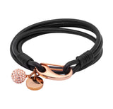 Unique & Co Ladies Black Leather Bracelet B153BL - Hamilton & Lewis Jewellery