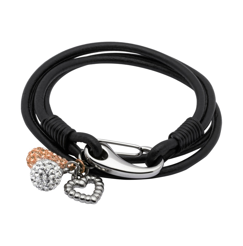 Unique & Co Ladies Black Leather Bracelet B159BL - Hamilton & Lewis Jewellery