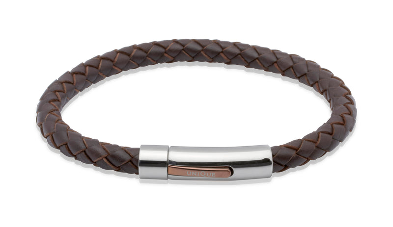 Unique & Co Dark Brown Leather Bracelet B170DB - Hamilton & Lewis Jewellery