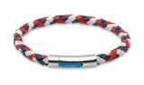 Unique & Co Red, White and Blue Leather Bracelet B170GBR - Hamilton & Lewis Jewellery