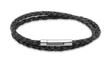 Unique & Co Antique Black Leather Bracelet B171ABL - Hamilton & Lewis Jewellery