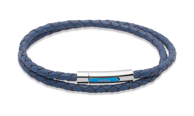 Unique & Co Blue Leather Bracelet B171BLUE - Hamilton & Lewis Jewellery