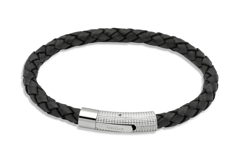 Unique & Co Antique Black Leather Bracelet B174ABL - Hamilton & Lewis Jewellery
