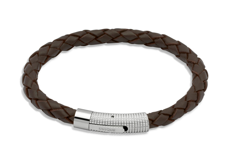 Unique & Co Dark Brown Leather Bracelet B174DB - Hamilton & Lewis Jewellery