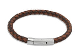 Unique & Co Dark and Light Brown Leather Bracelet B174MB - Hamilton & Lewis Jewellery