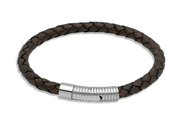 Unique & Co Antique Dark Brown Leather Bracelet B175ADB - Hamilton & Lewis Jewellery