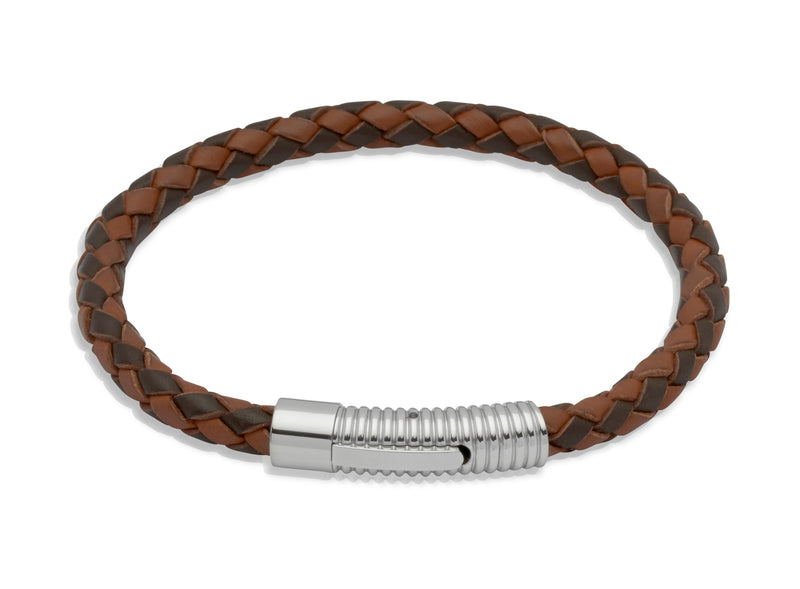 Unique & Co Dark and Light Brown Leather Bracelet B175MB - Hamilton & Lewis Jewellery