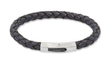 Unique & Co Navy Leather Bracelet B176NV - Hamilton & Lewis Jewellery