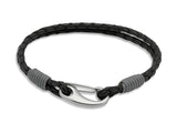 Unique & Co Black Leather Bracelet B177GR - Hamilton & Lewis Jewellery