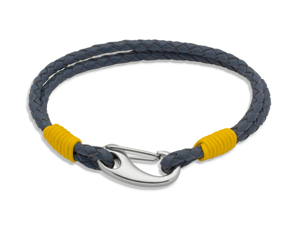 Unique & Co Blue Leather Bracelet B177YE - Hamilton & Lewis Jewellery
