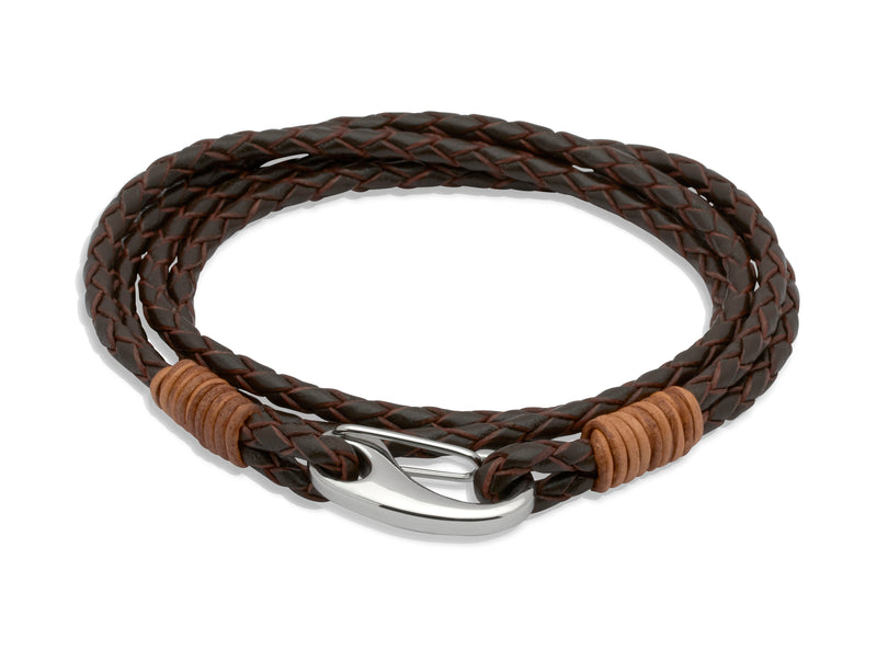 Unique & Co Dark Brown Leather Bracelet B178LB - Hamilton & Lewis Jewellery