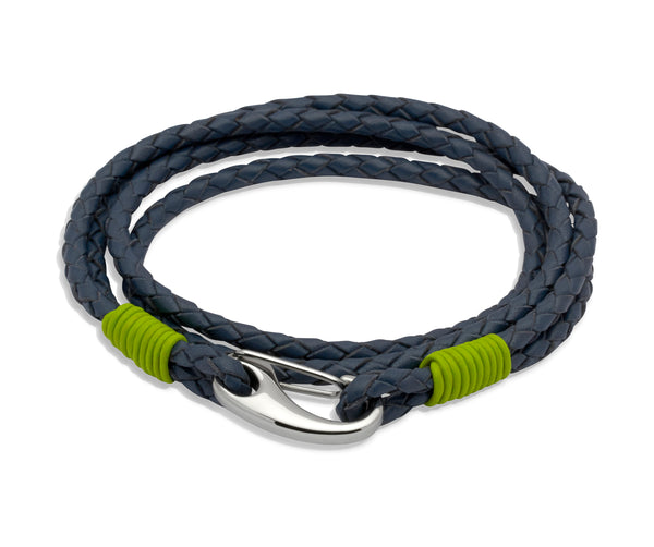 Unique & Co Blue Leather Bracelet B178LI - Hamilton & Lewis Jewellery