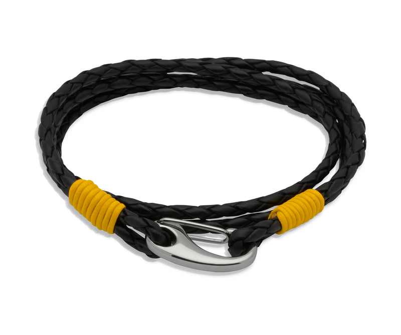 Unique & Co Black Leather Bracelet B178YE - Hamilton & Lewis Jewellery