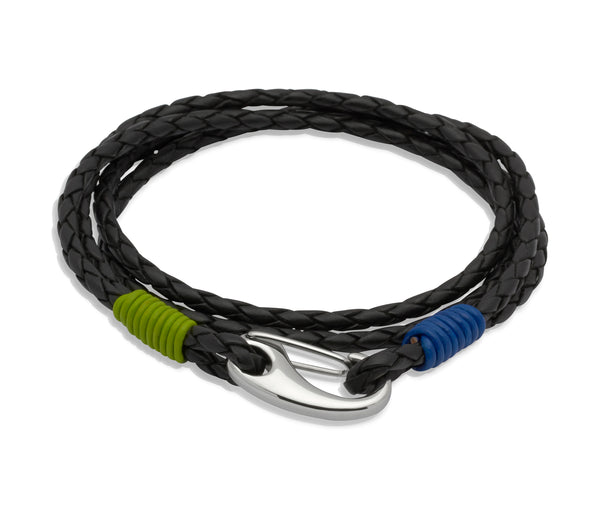 Unique & Co Black Leather Bracelet B179LB - Hamilton & Lewis Jewellery